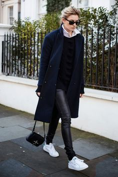 leather, navy & Stan Smiths. Camille in London. #CamilleOverTheRainbow