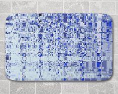 Bath Mat Abstract Architecture, Blue Grey, Modern Bathroom Decor, Memory Foam Microfiber Floor Mat, Kitchen Floor Decor, Interior Design