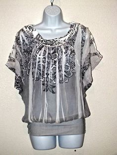 Contempo Sublimation Paisley Print Peasant Style Top Blouse Size L #Contempo #Blouse #Casual