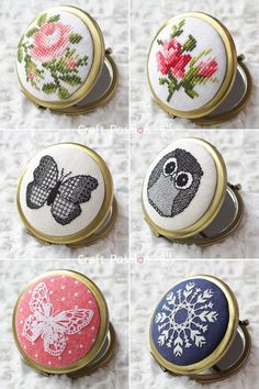 Glamorize your pocket mirror, makeup compact or jewelry box with these easy cross stitch patterns. Give it your own personal touch with Cross stitch.