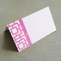 Chinoiserie Frette Pattern Place cards  Pink, Asian Motif Set of 12