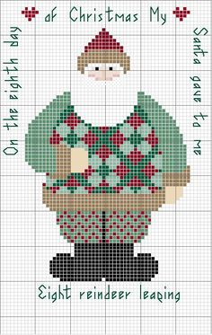 Schema punto croce Santa Day 08 Cross Stitch Freebies, Cross Stitch Charts, Counted Cross Stitch Patterns, Cross Stitch Designs, Cross Stitch Embroidery, Cross Stitch Christmas Ornaments, Noel Christmas, Santa Cross Stitch, Christmas Embroidery Patterns