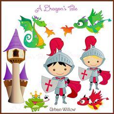 A DRAGON'S TALE Clip art set in premium by LittlePumpkinsPix, $4.50