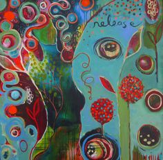 """Flora Bowley is an internationally celebrated painter, workshop facilitator & author of Brave Intuitive Painting. Learn how to: """"let go, be bold and unfold. Kunstjournal Inspiration, Art Journal Inspiration, Painting Inspiration, Art Du Collage, Flora Bowley, Arte Pop, Modern Art, Cool Art, Abstract Art"""