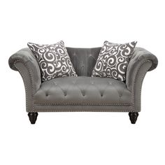The stylish, tufted Hutton II Collection will add sophistication to any room. The grey plush fabric cover has generous button tufting and brushed nailhead trim. The tapered wooden bun legs & coordinating accent pillows add to its uniqueness and style.