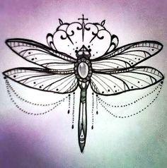 Girly Dragonfly Tattoo Design