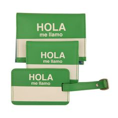 Hola me lliamo (hello my name is) passport cover, wallet and luggage tag.