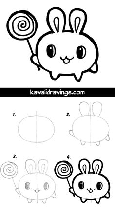 How to draw cute bunny, easy drawing tutorial, great for drawing with kids. #kawaii #howtodraw #kids