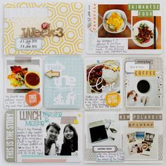 Project Life Week 3 left page using Becky Higgins Seafoam kit.