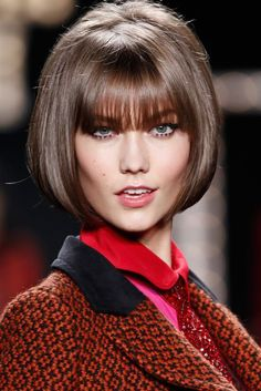 Karlie Kloss Short Straight Bob Hairstyles with Bangs