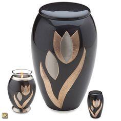 Majestic Tulip Brass Cremation Urn - Urns Northwest. A modern tulip floral design adorns this brass memorial.