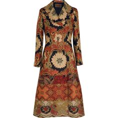 Etro Patchwork jacquard coat (€1.025) ❤ liked on Polyvore featuring outerwear, coats, jackets, coats & jackets, red, double breasted long coat, red double breasted coat, a line coat, colorful coat and brown double breasted coat