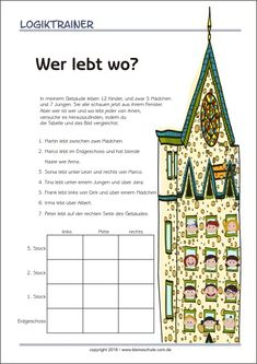 The logic trainer is a puzzle fun for kids that helps them to understand logical. The logic trainer is a puzzle fun for kids that helps them to understand logical de . Brain Teasers For Kids, Writing Games, Learn German, German Language, Reading Skills, Classroom Management, Kids And Parenting, Elementary Schools, Teaching Resources