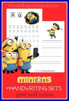 Your children will have so much fun practicing their print and cursive with these FREE Minions Handwriting Sets. Hurry, it's free for a limited time. Learning Tools, Fun Learning, Learning Activities, Teaching Kids, Preschool Learning, Holiday Activities, Learn Handwriting, Handwriting Analysis, Handwriting Activities