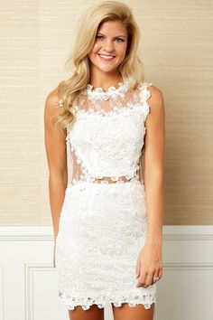 Festive Mood White Lace Dress at reddressboutique.com