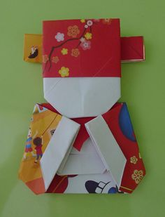 Ang Pow Origami Sheep and Fortune God - Fortune God Origami made with POSB red packets.