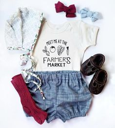 Items similar to Meet Me At The Farmer's Market, Organic Cotton, Custom, Baby, Toddler on Etsy Cute Baby Girl Outfits, Toddler Girl Outfits, Kids Outfits, Stylish Baby Clothes, Baby Kids Clothes, Kids Clothing, Baby Girl Fashion, Kids Fashion, Farmer Baby
