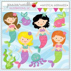 Mystical Mermaids - Cute Digital Clipart - Commercial Use OK - Mermaid Clipart - Mermaids - Mermaid Graphics