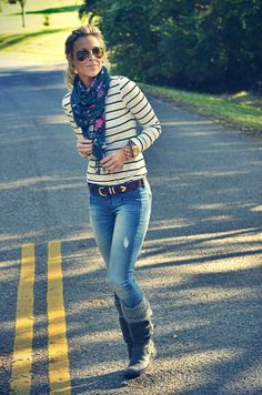 Love stripes with floral scarf.