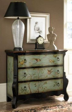 French mural style, hand painted dresser