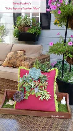 "Learn how to make Shirley Bovshow's ""Living Tapestry Succulent pillow!"" So easy and beautiful. Read more at EdenMakers.com"