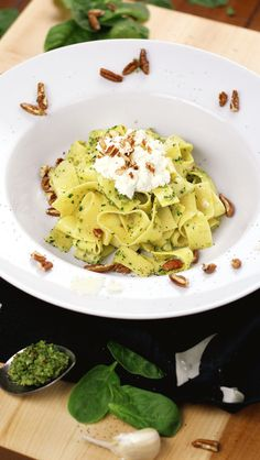 Make Pasta not war! Egg Pappardelle with Lemony Spinach Walnut Pesto and Ricotta by @thehangingspoon