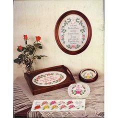 Rose Cross Stitch Patterns Wedding Anniversary Samplers Wreaths Bookmark