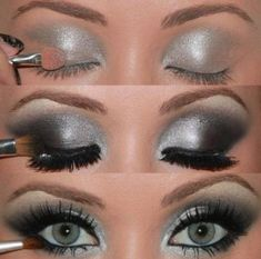 silver/black eye shadow