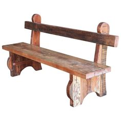 Mid=Century Thick Seat Heavily Made Hard Wood Garden Bench from a Tea Plantation - How to Paint a Room Fast Rustic Outdoor Benches, Rustic Wood Bench, Wood Bench Plans, Wood Benches, Rustic Chair, Log Furniture, Woodworking Furniture, Diy Woodworking, Furniture Projects