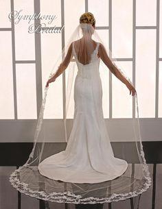 Just beautiful! Lace Cathedral Length Wedding Veil Symphony Bridal 6754VL - Affordable Elegance Bridal -