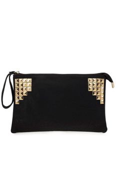 Reviving the very retro gold on black trend, this studded clutch from Something Borrowed is a statement piece.