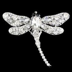 Dragonfly Pendant Clear Rhinestone