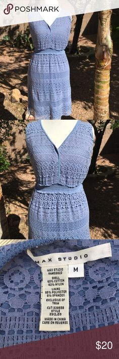 MAX STUDIO Eyelet Lace Dress Clean condition no flaws. Max Studio periwinkle eyelet lace dress. Comfortable. Packs well. Easy care.  Approx measurements bust 36 Waist 31 Length 33 (inches) Max Studio Dresses