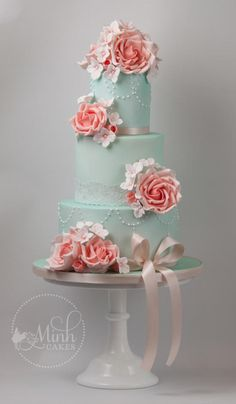 Vintage mint & peach wedding cake by Minh Cakes - http://cakesdecor.com/cakes/279392-vintage-mint-peach-wedding-cake