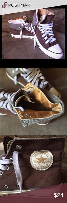 Satin lined, double tongue, glitter CONVERSE Size 9. Cute. Cute. Cute. Fall's color trend is brown and gold. Boom! Converse Shoes Sneakers