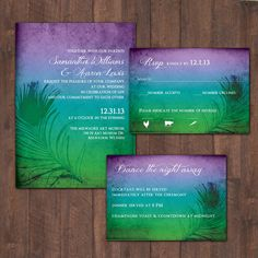 Ombre Peacock Wedding Invitations DCo Lovenotes. $10.00, via Etsy. I like these colors, without the feather maybe with swirlies
