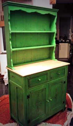 Stunning welsh dresser hand painted in Annie Sloan Antibes Green, aged with soft dark wax and distressed.