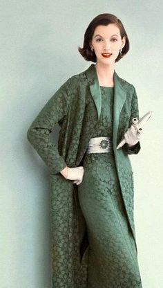 1955 vintage fashions style sheath dress pencil skirt long jacket suit set green brocade 50s 60s