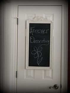 Mirror turned chalkboard. I saw something similar to this with a cheap hanging mirror and hung with ribbon on pantry door!