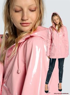Vinyl Rain Pink Raincoat, Raincoat Outfit, Stylish Raincoats, Raincoats For Women, Coloured Leather Jacket, Rainy Day Outfit For Work, Vinyl Clothing, Cosplay Outfits, Rain Wear