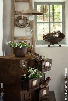 Old and rusty and they still manage to look great piled in a corner with plants and flower on top and coming out the drawers.