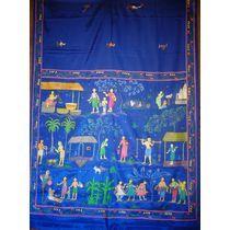 OSS30103: Navy blue color silk sadhi online shopping.