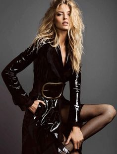 Model Martha Hunt shows some leg in a black leather trench coat for Harper's Bazaar Magazine Mexico November 2016 editorial