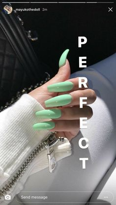 Designer nägel Acrylic Nails Easy Concepts Hair & Magnificence # Acrylic Nails # Magnificence A Summer Acrylic Nails, Best Acrylic Nails, Acrylic Nail Designs, Acrylic Nails Green, Summer Nails, Gorgeous Nails, Pretty Nails, Perfect Nails, Hair And Nails