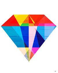 geometric colorful diamond tattoo