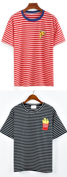 Contrast Neck Pizza Print Striped T-shirt