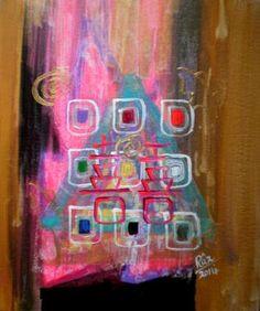 "Saatchi Art Artist Rizwana A Mundewadi; Painting, ""Glowing Double Happiness"" #art"