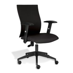 This sleek, modern office chair features comfortable arms and ergonomic design. This chair is upholstered in soft fabric and features an adjustable-height seat.