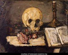 Still Life With Skull And Candlestick - Paul Cezanne - www.paul-cezanne.org