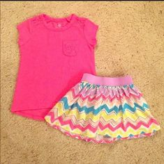 Okie Dokie Toddler Sz 2T Girls 2 Piece Outfit Shirt Skirt Bright Colored Chevron  | eBay